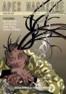 Magazine Cover: Apex Magazine January 2014 - an old woman with a suggestion of antlers, holding a sharp knife and a cigarette
