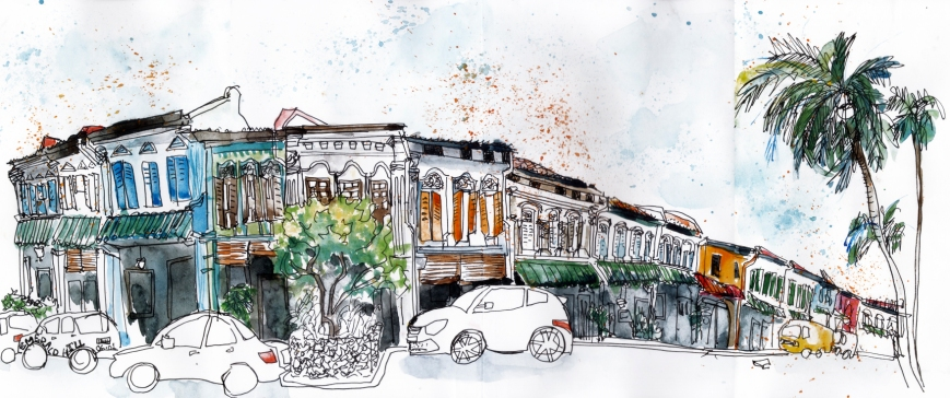 Doodlewash and Urban Sketch by Sanjukta Sen of Emerald Hill Panorama