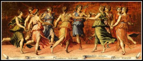 """""""Apollo and the Muses"""" by Baldassarre Peruzzi. 1523."""